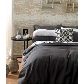 Laundered Linen Charcoal Super King Quilt Cover Set by MM Linen