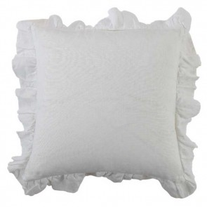 Laundered Linen Square Frilld Cushion by MM Linen