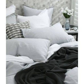 Laundered Linen Quilt Cover Set Pewter by MM Linen