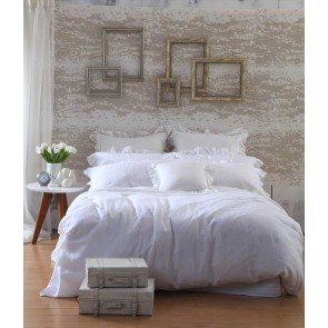 Laundered Linen White Super King Quilt Cover Set by MM Linen