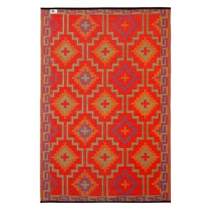 Lhasa Indoor/Outdoor Orange and Violet Rug by FAB Rugs