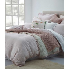 Laundered Linen Super King Blush Quilt Cover Set by MM Linen