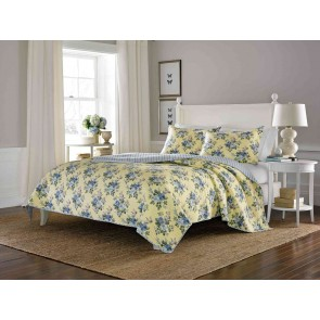 Linley Printed Coverlet Set in Pale Yellow by Ardor