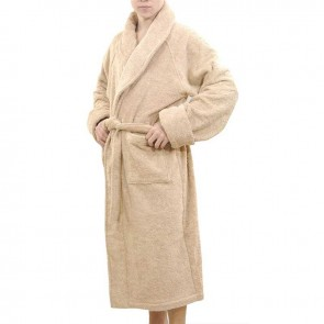 Luxury 18 OZ/550 GSM Thick Terry Fabric Orgnically Natural Colour Pure Cotton Bath Robe Dressing Gowns Unisex
