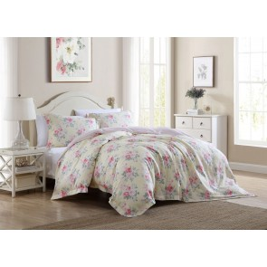 Melany Printed Quilt Cover Set in Yellow by Laura Ashley