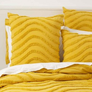 Mustard 100% Cotton Wave Chenille Vintage washed tufted Quilt cover Set