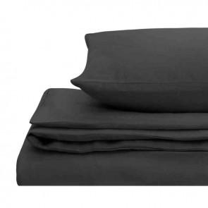 Charcoal Natural Home 100% European Flax Linen Quilt Cover Set