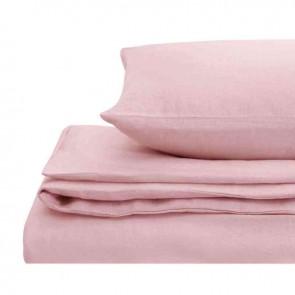Pink Natural Home 100% European Flax Linen Quilt Cover Set