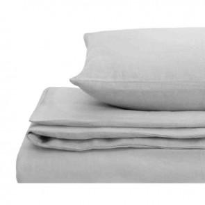 Silver Natural Home 100% European Flax Linen Quilt Cover Set