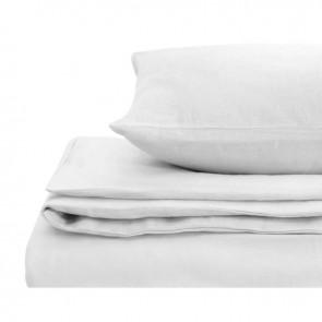 White Natural Home 100% European Flax Linen Quilt Cover Set