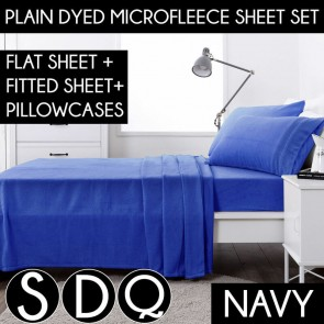 Navy Blue Plain Dyed Microfleece Flat & Fitted Sheet Set Polar Fleece