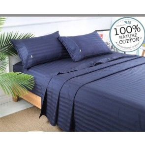 Navy Stripe 1000TC 100% Egyptian Cotton 4 Piece Fitted Flat Sheet Set