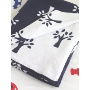 Tree Of Life Navy Blue 100% Cotton Cot Blanket by Jacob & Bonomi