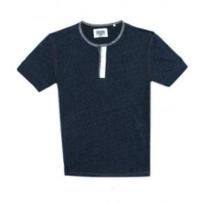 Next Crew Neck Placket Button Blue T-Shirt