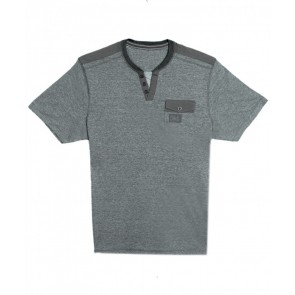 Next Deep Neck Buttoned Placket Green-Grey-T-Shirt