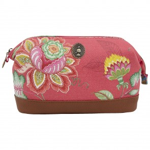 Pink Jambo Flower Faux Leather Beauty Pouch by Pip Studio