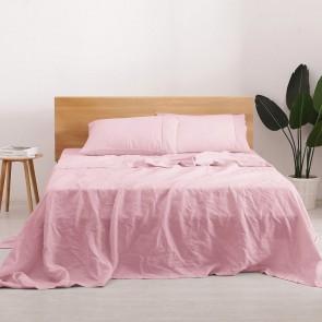 Pink Natural Home 100% European Flax Linen Sheet Set
