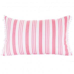 Rasberry Stripe Pompom Cushion by Lullaby Linen