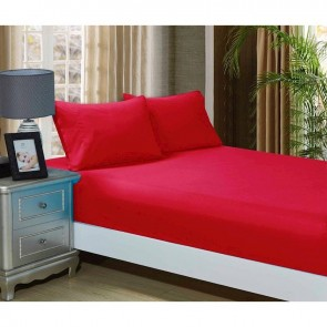 Red 1000TC Ultra Soft 3-Piece Fitted Sheet & 2 Pillowcases Set by Fabric Fantastic