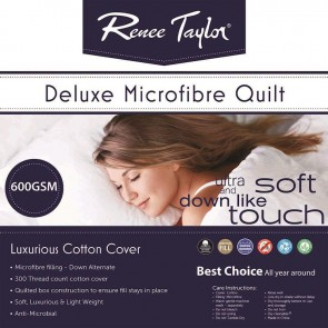 600GSM Deluxe Quilt with Cotton Cover Premium Microfiber Filling by Renee Taylor