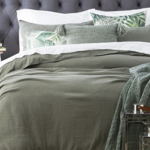 Fern Solana Washed Cotton Textured Quilt cover set & Euro P/case by Renee Taylor