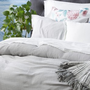 Silver Solana Washed Cotton Textured Quilt cover set & Euro P/case by Renee Taylor