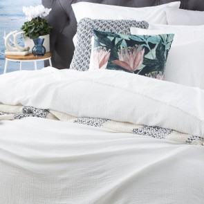 White Solana Washed Cotton Textured Quilt cover set & Euro P/case by Renee Taylor
