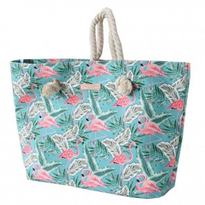 Rope Handle Beach Bag Teal Flamingo by Escape To Paradise