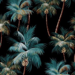 Round Cushion Cover Palm Trees Black by Escape To Paradise