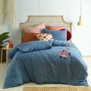 Tallulah Embroidered Denim Linen Cotton Quilt Cover Set  by Vintage Designs