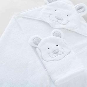 White Benji Baby Hooded Towel & Mitt Set by Sheridan
