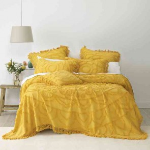 Santorini King Single Bedspread Set Mustard by Bianca