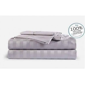 Stripe Silver 1000TC 100% Egyptian Cotton 4 Piece Fitted Flat Sheet Set