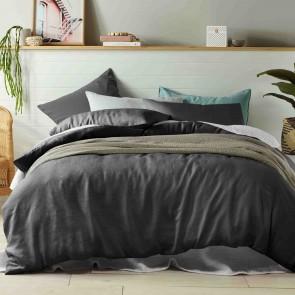 Slate 100% Linen Quilt Cover Set