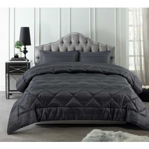 Slate Waffle Jacquard Comforter 3 Piece Set by Accessorize