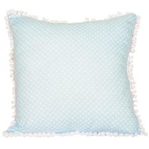 Spring Time Blue Coin Dot  Cushion by Lullaby Linen