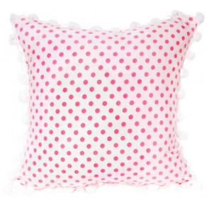 Pink Toile Square Pompom Cushion by Lullaby Linen