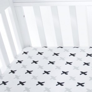 Tic Tac Toe Organic Standard Fitted Sheet by Amani Bebe