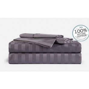 Grey Stripe 1000TC 100% Egyptian Cotton 4 Piece Fitted Flat Sheet Set