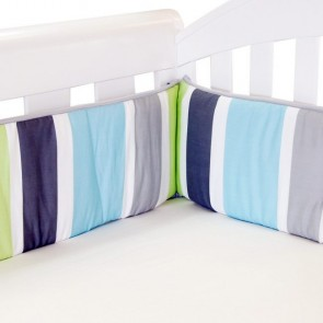 Summer Stripe Lime Cot Bumper by Babyhood