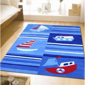 Super Fun Ships and Boats Kids Rug by Unitex