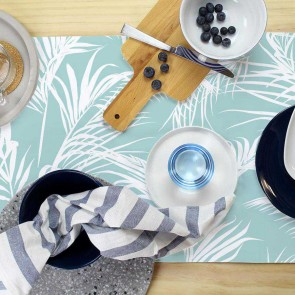 Table Runner Classic Palms Aqua by Esacpe To Paradise