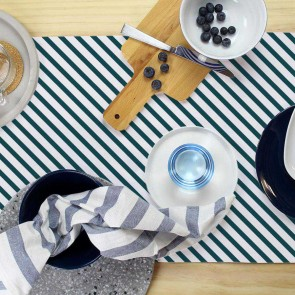 Table Runner Side Stripe Teal by Esacpe To Paradise
