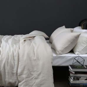 Taupe 100% Linen Quilt Cover Set by Vintage Design