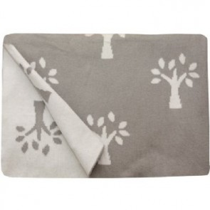 Tree of Life Grey 100% Cotton Pram/Bassinet Blanket by Jacob & Bonomi