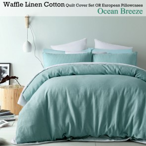 Ocean Breeze Linen Cotton Waffle Quilt Cover Set by Accessorize