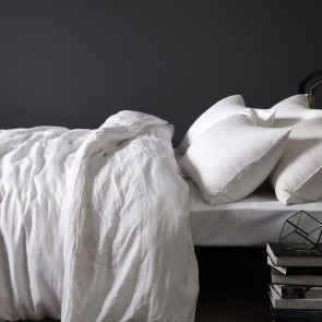 White 100% Linen Quilt Cover Set by Vintage Design