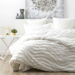 White 100% Cotton Wave Chenille Vintage washed tufted Quilt cover Set