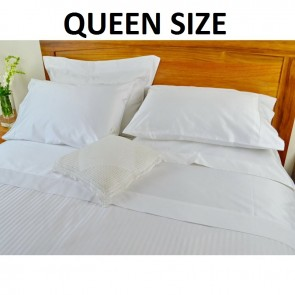 White 1250TC With Pure Cotton Bed Sheet Set