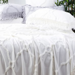 White Moroccan 100% Cotton Chenille Vintage washed Tufted Bed Cover set by Park Avenue